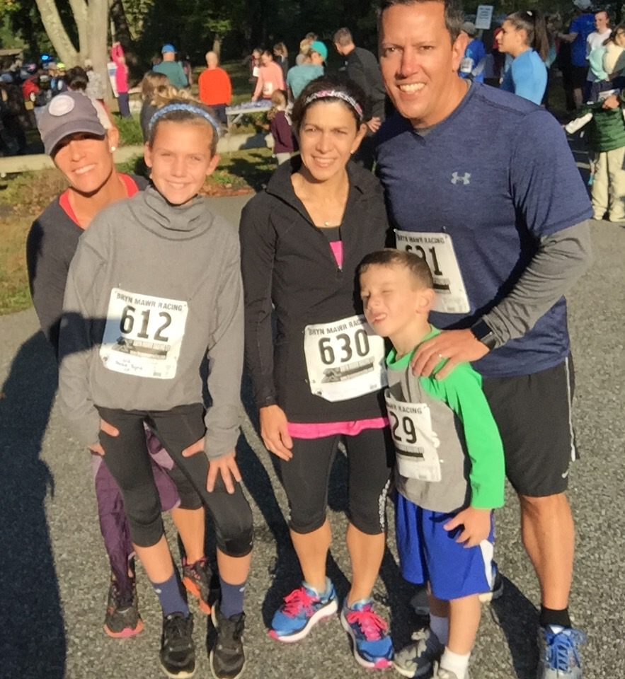 Megan, Frankie, Christine, Jim & Mason at the Storm Water 5K - Ardmore